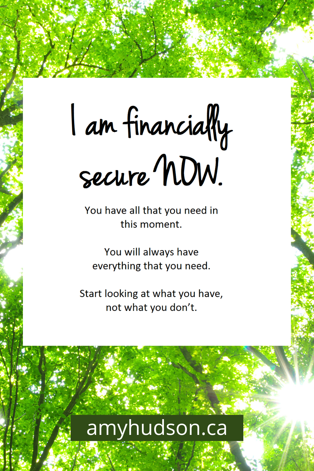 I am financially secure now.