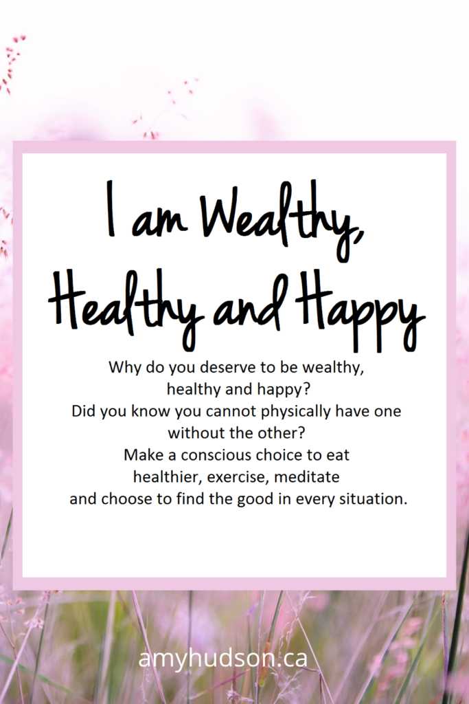 Money Mantra Oracle Card - I am wealthy, healthy and happy.